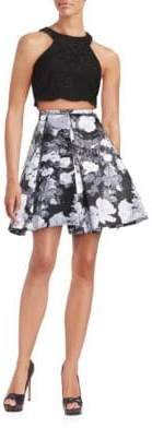 Xscape Evenings Two-Piece Lace and Floral Dress