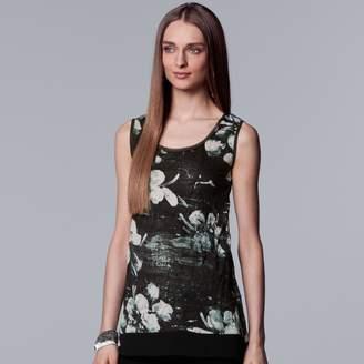 Vera Wang Women's Simply Vera Print Handkerchief Hem Tank