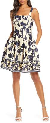 Vince Camuto Floral Pleated Scuba Fit & Flare Dress