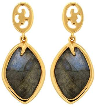 Missoma 18ct Gold Plated Short Maiya Drop Earrings in Labradorite