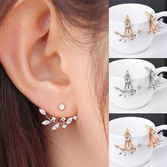 Fashion Silver Plated Leaf Crystal Ear Jacket Double Sided Swing Stud Earrings Gift