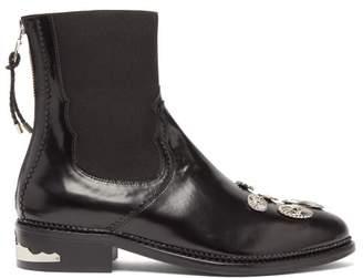Toga Western Badge Embellished Leather Chelsea Boots - Womens - Black
