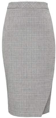 Banana Republic Plaid Bi-Stretch Wrap-Front Pencil Skirt