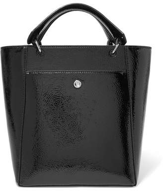 Elizabeth and James Eloise Small Faux Patent Textured-leather Tote - Black