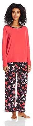 Hue Women's Marching Penguins Fleece 3 Piece Pajama Set Banded