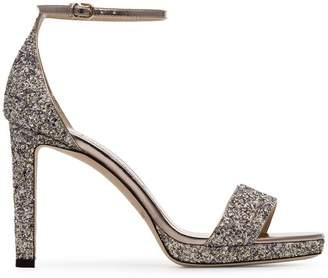3f1a33bc0f5 Jimmy Choo metallic silver misty glitter 100 platform sandals