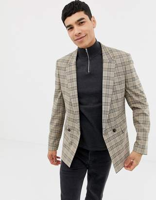 Asos DESIGN skinny double breasted blazer in brown prince of wales check