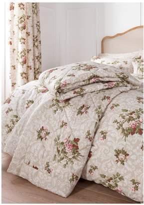 Dorma Antique Floral 100% Cotton Sateen 300 Thread Count Bedspread Throw