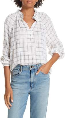 Rebecca Taylor Metallic Plaid Blouse