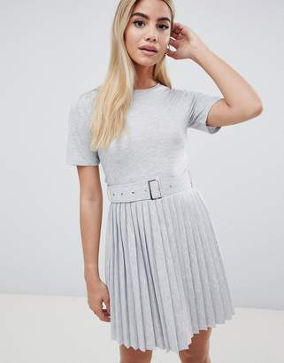 Asos Design DESIGN mini dress with pleated skirt and belt
