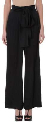 L'Autre Chose Bow Tie Black Silk Pants