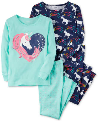Carter's 4-Pc. Unicorn Cotton Pajama Set, Baby Girls
