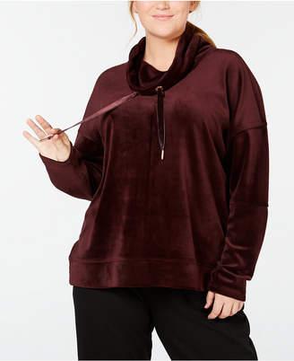 Calvin Klein Plus Size Velour Cowl-Neck Top
