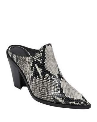Sigerson Morrison Kaden Snake-Print Leather Slide Mules