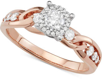 Macy's Diamond Crossover Halo Engagement Ring (5/8 ct. t.w.) in 14k Rose & White Gold