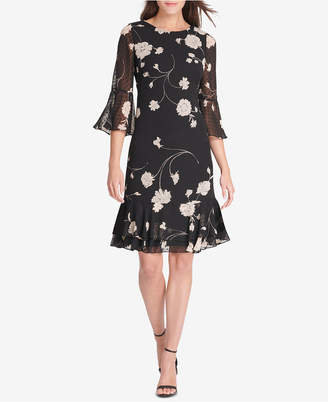 Jessica Howard Floral Printed Bell-Sleeve Shift Dress