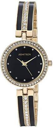 Swarovski Armitron Women's 75/5608BKGP Crystal Accented Gold-Tone and Black Bangle Watch
