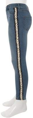 River Island Girls mid blue Molly pearl tape jeans