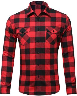XI PENG Men's Winter Thermal Jacket Checked Long Sleeve Flannel Shirts