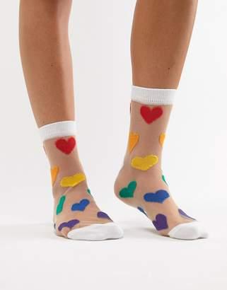 Asos Design Sheer Rainbow Heart Ankle Sock
