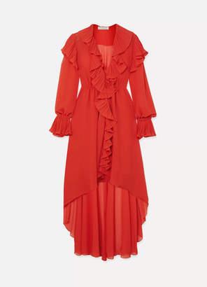 Philosophy di Lorenzo Serafini Asymmetric Ruffled Crepon Midi Dress - Red