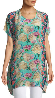 Tolani Tiffany Short-Sleeve Long Silk Floral Tunic , Plus Size