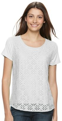 Women's Croft & Barrow® Lace Tee $24 thestylecure.com
