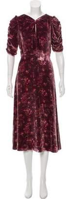 Rebecca Taylor Velvet Floral Print Dress