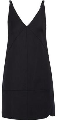 Helmut Lang Studded Faux Leather-trimmed Ponte Mini Slip Dress
