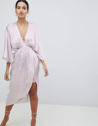 Asos Design Midi Plunge Kimono Dress In Satin