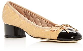 1ab19154ebe Paul Mayer Women s Titou Quilted Leather Cap Toe Block Heel Pumps