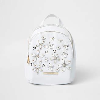 River Island Girls white 3D flower backpack