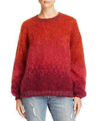 Bloomingdale's Rose Carmine Shimmer-Trim Ombré Sweater