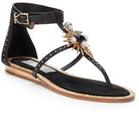 Ivy Kirzhner Babel Embellished Snake-Embossed leather Sandals/Black