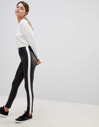Asos Design Leather Look Leggings With Side Stripe