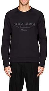 Giorgio Armani MEN'S LOGO COTTON-BLEND NEOPRENE SWEATSHIRT - NAVY SIZE S