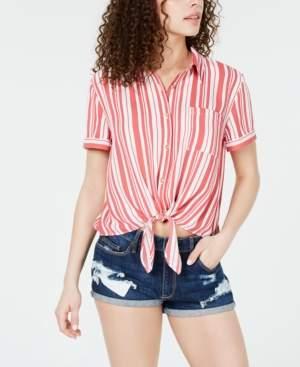 Hippie Rose Juniors' Striped Tie-Front Camp Shirt