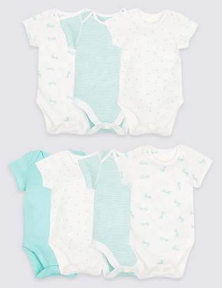 Marks and Spencer 7 Pack Printed Pure Cotton Bodysuits