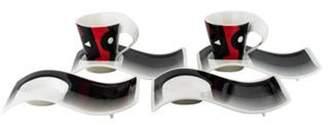 Villeroy & Boch 6-Piece New Wave 4.05 Demitasse Cup & Saucer Set red 6-Piece New Wave 4.05 Demitasse Cup & Saucer Set