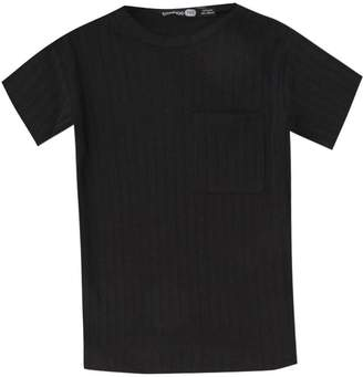 boohoo Boys Curved Hem Ribbed T-Shirt