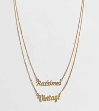 Reclaimed Vintage inspired multirow logo necklace