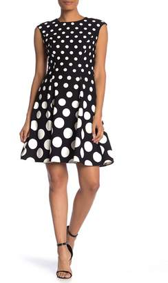 London Times Dot Print Fit & Flare Dress