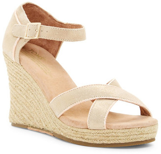 TOMS Metallic Suede Wedge Espadrille Wedding Sandal $119 thestylecure.com