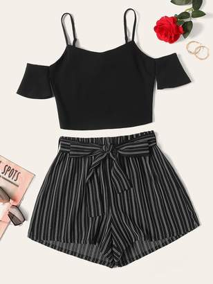 Shein Plus Cold Shoulder Top & Belted Pinstripe Shorts Set