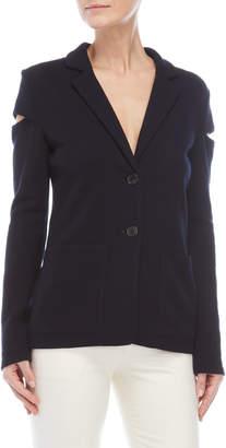 Derek Lam Navy Cutout Shoulder Blazer