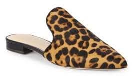 Rachel Zoe Natalie Leopard Print Calf Hair Mules