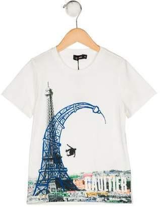 Junior Gaultier Boys' Printed Short Sleeve Shirt w/ Tags