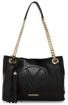 Mario Valentino Luisa Logo Embroidered Leather Tote