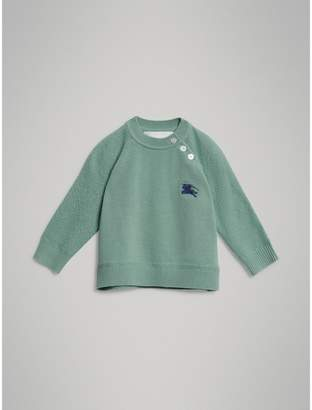 Burberry Contrast Motif Cashmere Sweater , Size: 3Y, Green