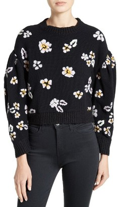 Women's Rebecca Taylor Brushed Floral Wool Blend Sweater $495 thestylecure.com
